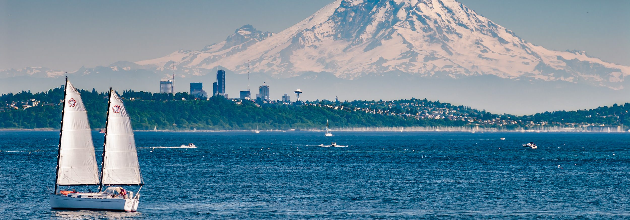 Mt Ranier background over puget sound